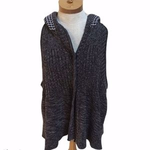 Free People knit hooded racerback vest cardigan